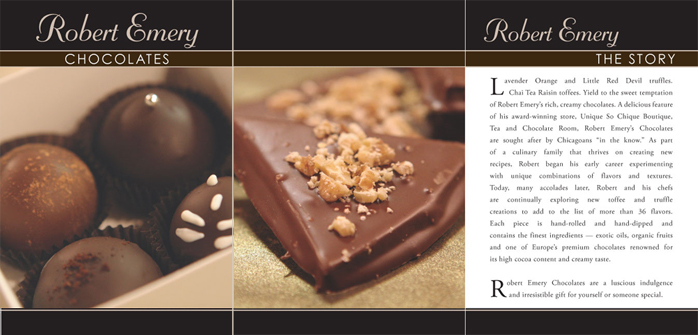 image of brochure for Robert Emery Chocolates