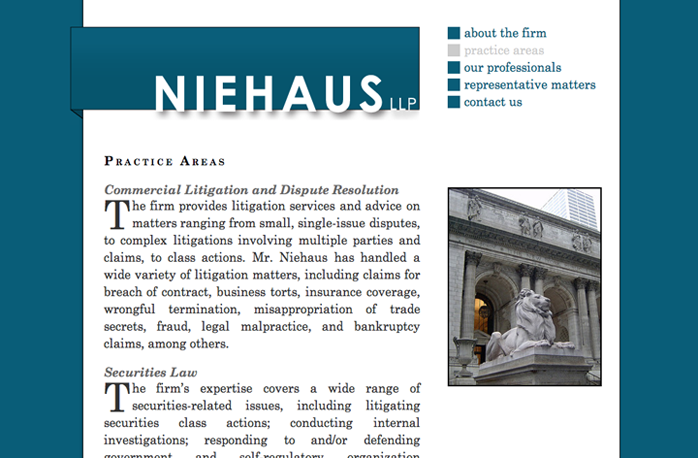 Niehaus LLP website
